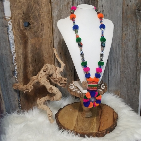 Creative Crystal Designs Jewelry - ❌HOLD F/NAT❌ POM POM BEADED MEDALLION NECK PIECE!